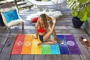 Regenbogen-Strandtuch-boho-Yoga-7-Chakras-Teppich-Wandteppich-Handtuch-Matte