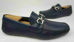 4308f291a88 Image is loading Salvatore-Ferragamo-Parigi-Driving-Shoes-Blue-Silver-Bit-