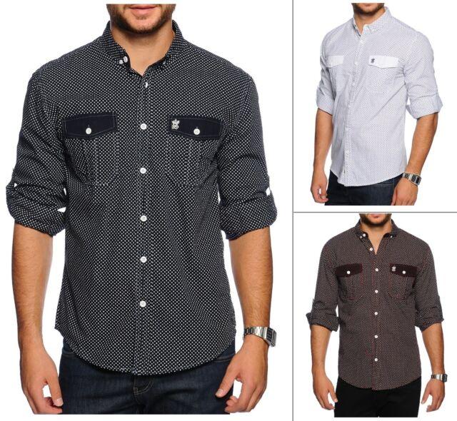 New Soulstar Men's Short & Long Sleeve Poker Dott Spot Shirt Burgundy Blue White