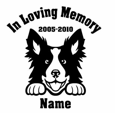 In Loving Memory Border Collie Peeking with Name car window decal