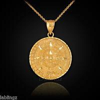 Solid Gold Aztec Mayan Sun Calendar Pendant Necklace 10k 14k
