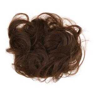 Postiche-Cheveux-Marron-Fonce-Chouchou-Chignons-Volumineux-Boucles