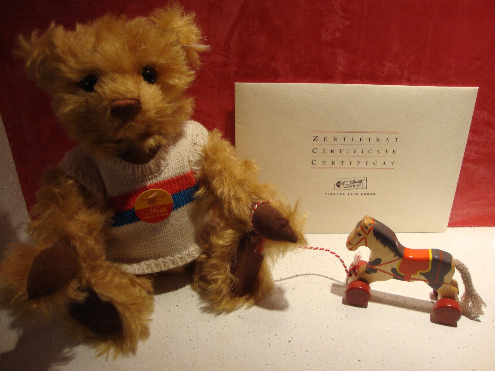 Steiff Teddybär mit Nachziehpferd und Zertifikat, neu limitiert, Teddy 671173