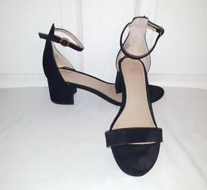 cc236c07f11cb H&M Black Faux Suede Ankle Strap Block Heel Sandals Shoes 8 39 | eBay
