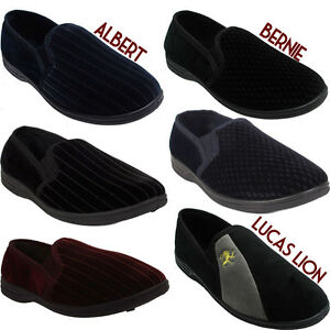 Mens-Gusset-Slippers-Gents-Casual-Shoes-BLACK-GREY-NAVY-Sizes-UK-7-8-9-10-11-12