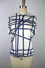 Authentic HERMES White & Blue Bolduc Ribbon Print Cotton T-shirt Size L
