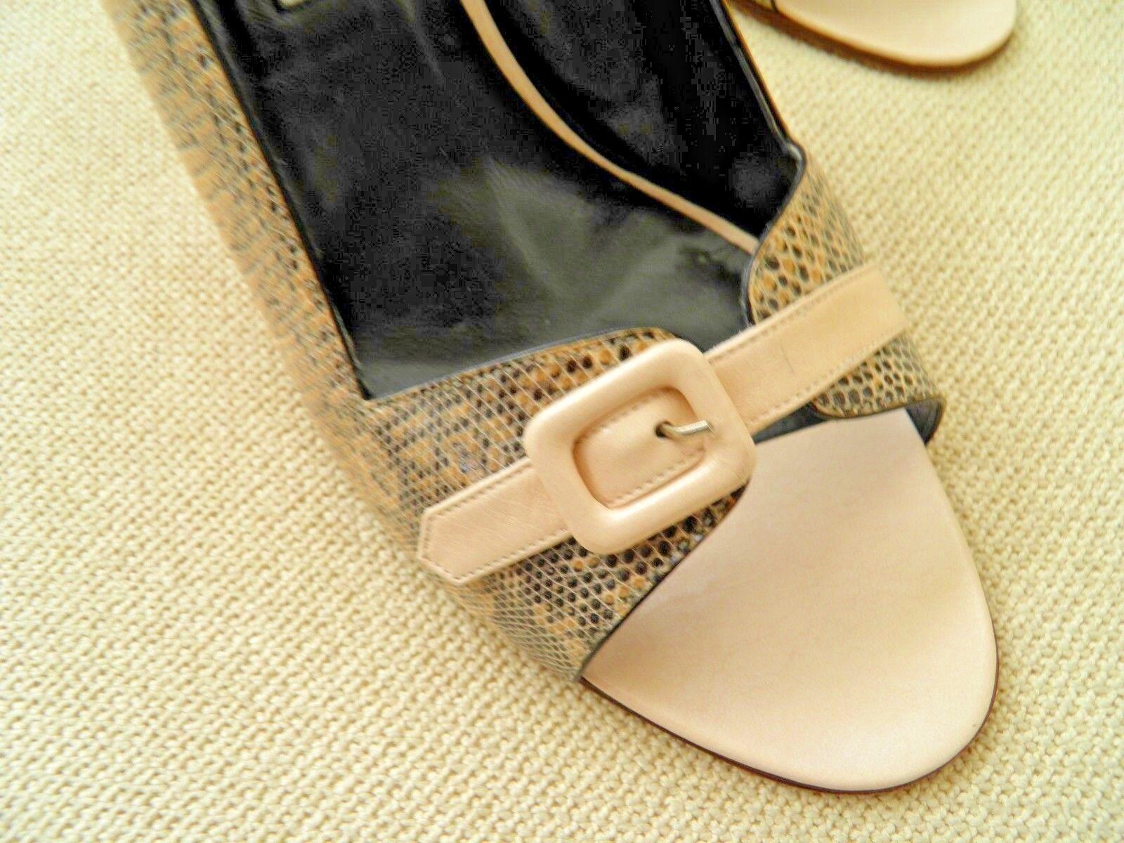 Manolo Leder/Snakeskin Blahnik Beige  Leder/Snakeskin Manolo Peep Toe Buckle Slingback Sandals 39.5 4b20f2