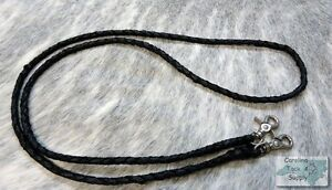 BLACK-Braided-Leather-Western-Roping-Rein-w-Snaps-NEW-HORSE-TACK