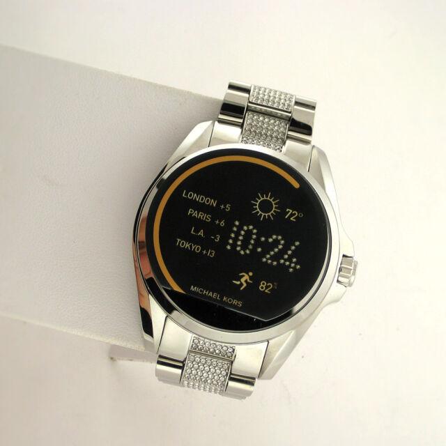 210e6749f1cd Michael Kors Access Touchscreen MKT5000 Bradshaw Smartwatch Silver Glitz  Watch -