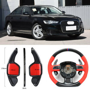 Carbon-Fiber-Gear-DSG-Steering-Wheel-Paddle-Shifter-Cover-Fit-For-Audi-A6-12-18