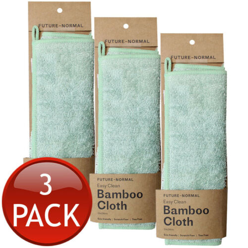 3 x FUTURE NORMAL BAMBOO CLEANING CLOTH KITCHEN DISH COMPUTER MIRROR TOWEL GREEN