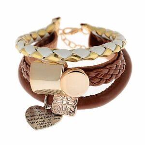 Wunderschoen-und-entzueckende-Damen-Leder-Armband-Beads-Herz-Arm-kette