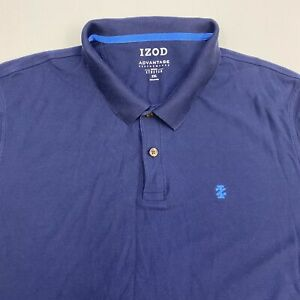 Izod Performance Polo Shirt Men's Size 2XL XXL Short Sleeve Blue Natural Stretch