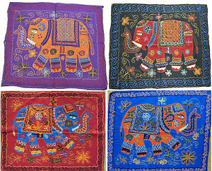 Elephant-Wall-Hanging-Indian-Hippy-Ethnic-Sequin-Tapestry-Embroidered-34-034-86cm