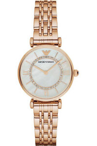NEW-Emporio-Armani-Classic-Mother-Of-Pearl-Dial-Rose-Gold-Ladies-Watch-AR1909
