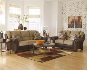 Details about CARLSON - Two Tones Brown Chenille Sofa Couch Loveseat Set  Living Room Furniture