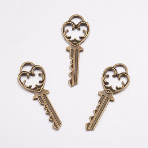 10 x Antique Bronze Love Heart Key Charms Steampunk Alice In Wonderland