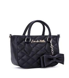 9073805a21 Lux de Ville Mini Sweet Pea Black Matte Rockabilly Pinup Tote Bag ...