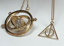 Harry Potter Time Turner Necklace & Gold Deathly Hallow Charm Pendant Necklace