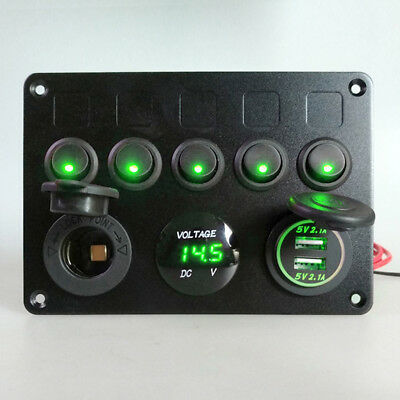 5 Gang Inline Fuse Box Toggle Switch Panel 2 USB Charger Socket Car Boat Marine