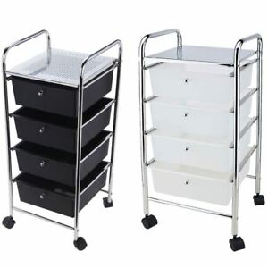 4 Drawer Trolley Black White Kitchen Food Storage Tier Unit New By Home Discount