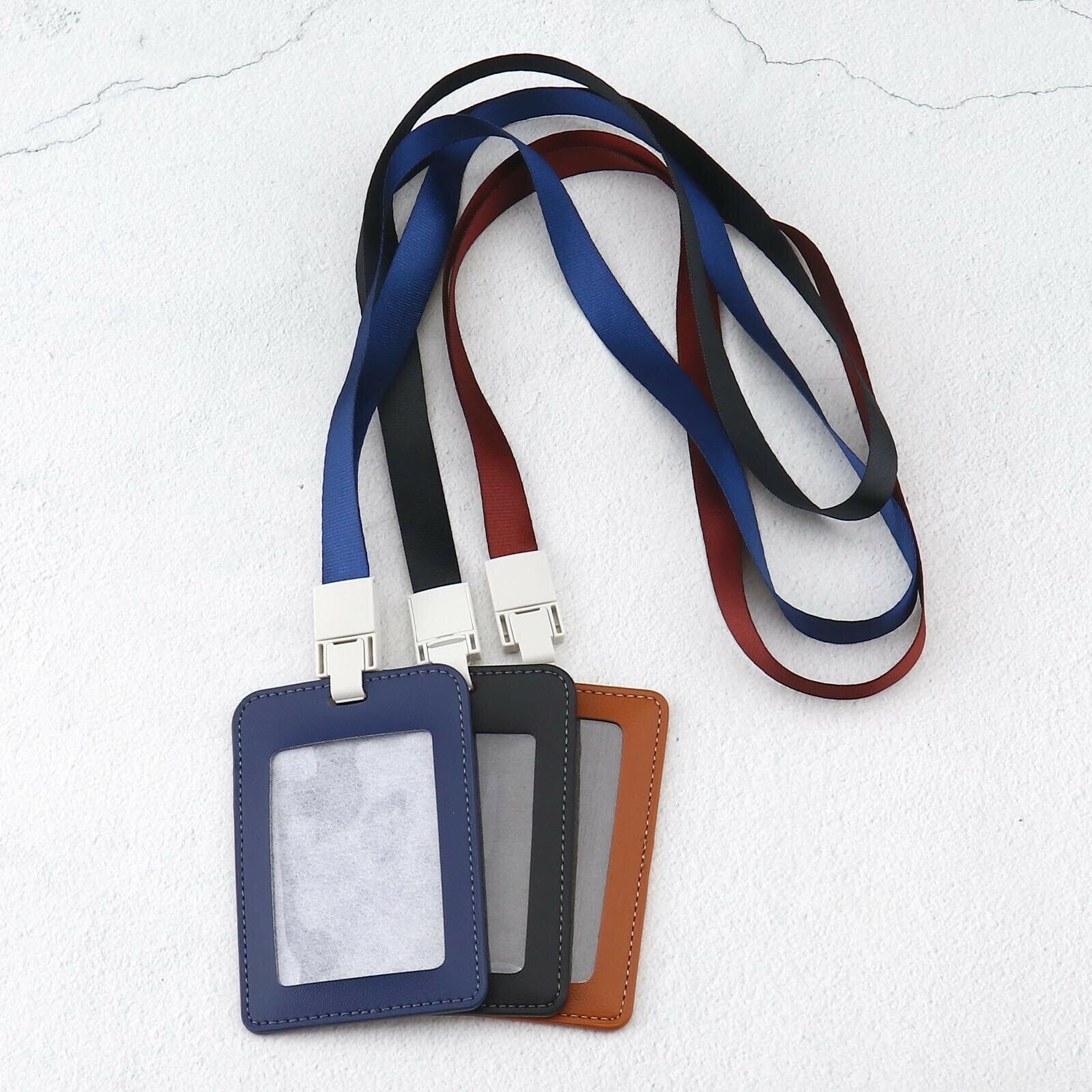 3pcs PU Leather Badge Holder Bus ID Student Card Holder with Clear Window