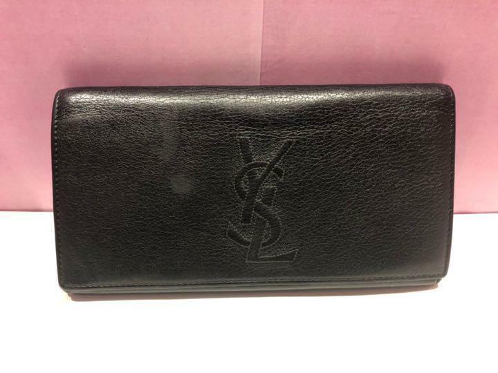Auth Saint Laurent Fold Purse Long Wallet YSL Black Leather Italy Unisex