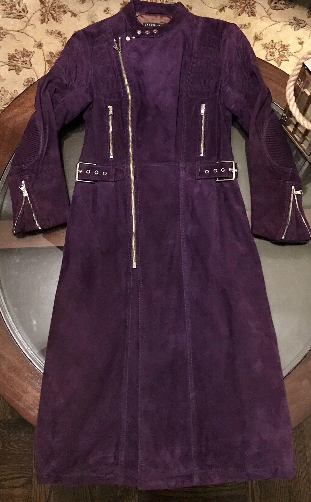 Ralph Lauren Womens Quilted Moto Collection Leather COAT Royal Purple Sz Medium