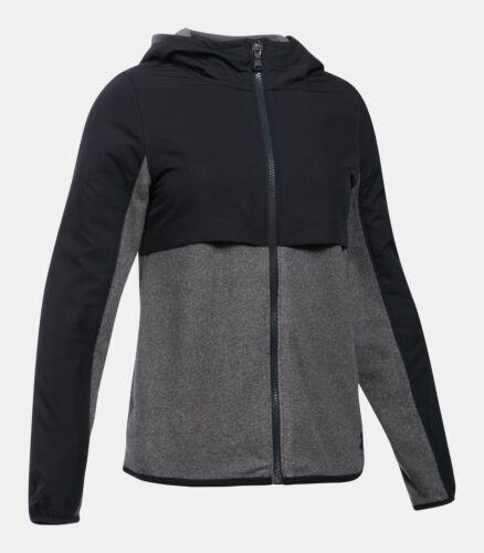 NWT $65 UNDER ARMOUR Phenom Girls Fleece Full Zip Hoodie Jacket Black//Grey M XL