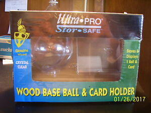Ultra-Pro-Stor-Safe-Wood-Base-amp-Card-Holder-Crystal-Clear-Genuine-Wood-new