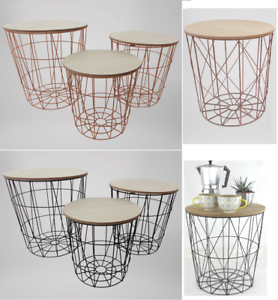 Retro-Black-Metal-Wire-Round-Wood-Top-Storage-Side-Table-Basket-Home-Furniture