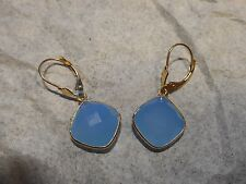 14K Leverback Hanging 10CTW Cushion Cut faceted Blue Chalcedony pierced EARRINGS