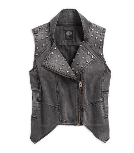 Harley-Davidson Women/'s Denim Studded Vest 96126-17VW