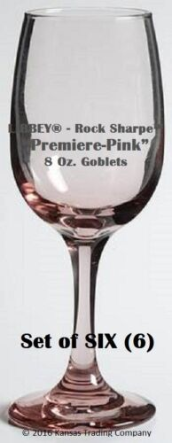 "SIX 6 EMH13 Rock Sharpe PREMIERE PINK Pattern 8oz Goblets 7 ¼"" Libbey SET of"