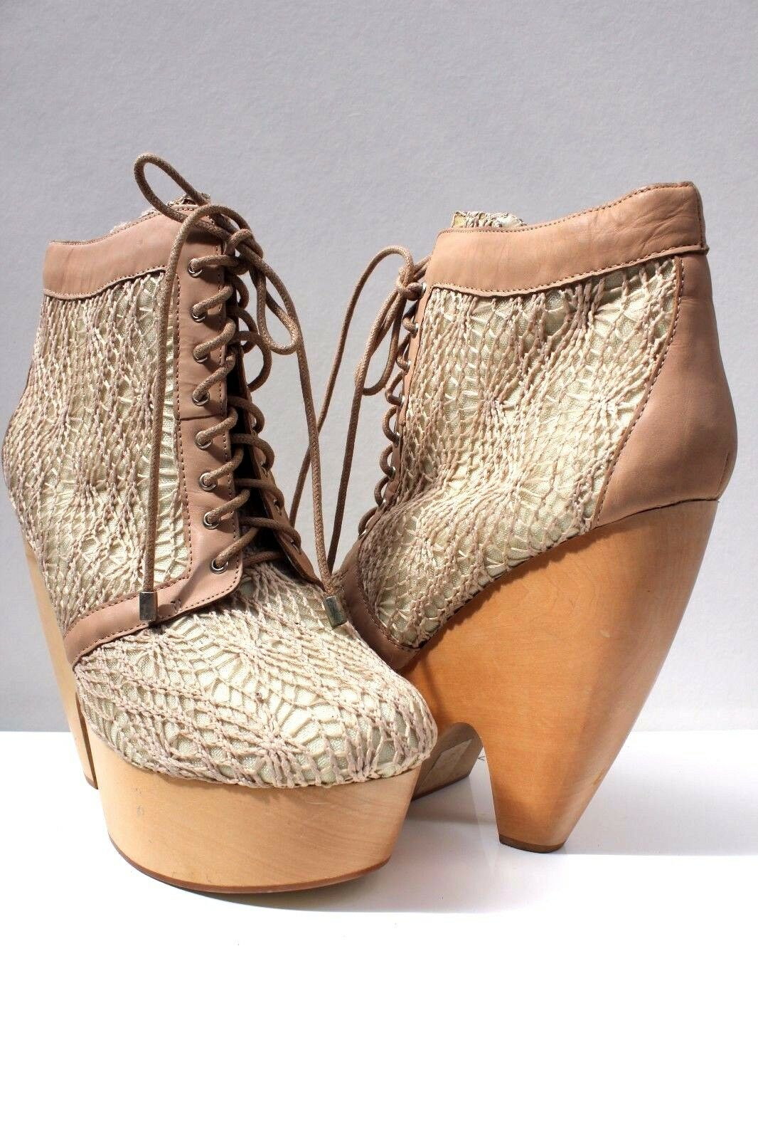 Messeca Lace Up Beige Lace Platform High Block Heel US Ankle Stiefel 7 40 US Heel 9.5 New fd2689