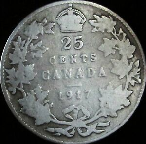 1917-Canada-Silver-25-Cents-KM-24-VG-Good-JG