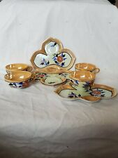 Vintage Peach Lusterware Snack Plates With Cups Japan Set of 4