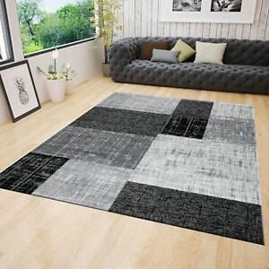 Teppich Wohnzimmer Kurzflor Modern Grau Schwarz Weiss Kariert Kachel