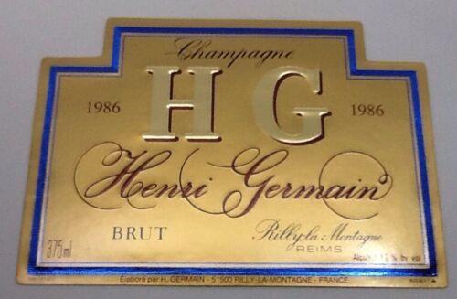 GERMAIN HENRI ÉTIQUETTE DE CHAMPAGNE MILLÉSIME 1986 375 ML #8746