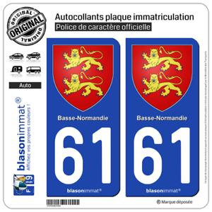 61 Orne autocollant plaque immatriculation auto d/épartement sticker Normandie nouveau logo arrondis Angles