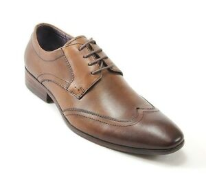 SALO NEW YORK MEN'S TAN LEATHER WING TIP SHOES STYLE #968-7061