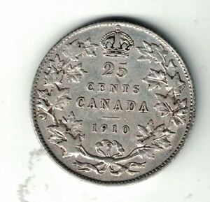 CANADA-1910-TWENTY-FIVE-CENTS-QUARTER-KING-EDWARD-VII-STERLING-SILVER-COIN