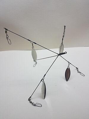 KC School/'em 7-HD-5CL Umbrella Rig  Bass//Striper 5 Arm 4 Blade