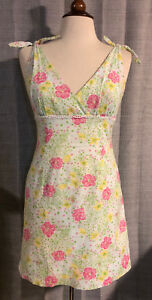 Womens-LILLY-PULITZER-The-Good-Life-Swiss-Dot-Floral-Flower-Dress-Size-6-H40