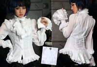 Chemise Gothique Lolita Steampunk Baroque Voilage Jabot Amovible Traîne Blanche