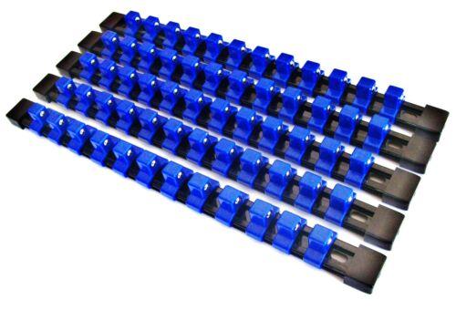 "5 GOLIATH INDUSTRIAL 1//2/"" ABS MOUNTABLE SOCKET RAIL HOLDER ORGANIZER BLUE SH12BB"