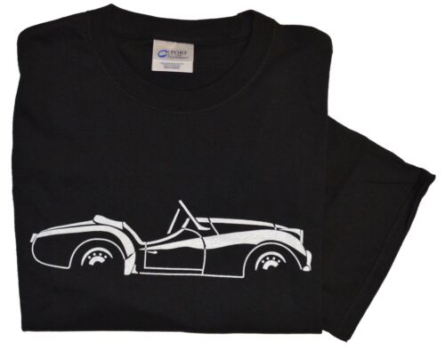 Triumph TR3A//B side view white on black 100/% cotton T-Shirt