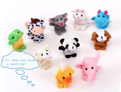 10Pcs Farm Animal Finger Puppets Plush Doll Baby Educational Hand PUZ Cute Toy-S