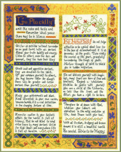 COLOUR chart Desiderata Verse Sampler complete cross stitch kit on 14 aida