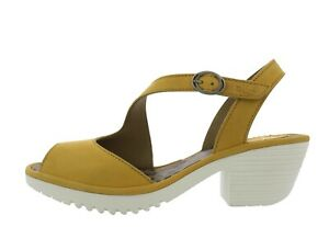 a892b4927ca11 Details about Fly London NEW Wyno bumble mustard block heel genuine leather  sandals sz 3-9